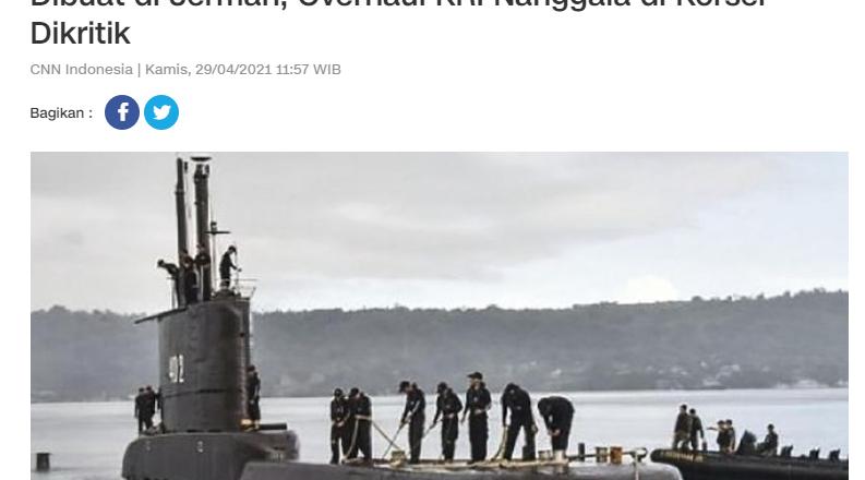 Dibuat di Jerman, Overhaul KRI Nanggala di Korsel Dikritik