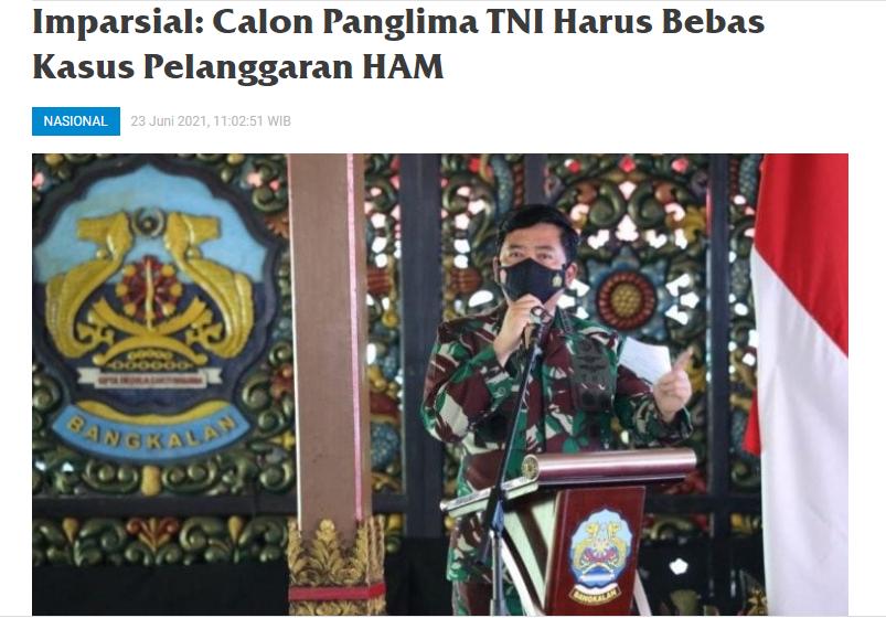 Imparsial: Calon Panglima TNI Harus Bebas Kasus Pelanggaran HAM