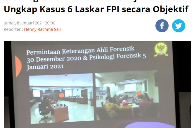 Investigasi Komnas HAM Bisa Jadi Acuan Ungkap Kasus 6 Laskar FPI secara Objektif