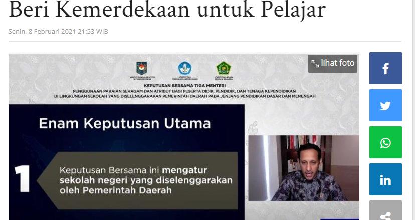 Imparsial: SKB 3 Menteri Soal Seragam Beri Kemerdekaan untuk Pelajar