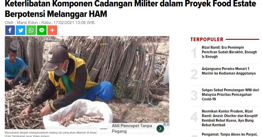 Keterlibatan Komponen Cadangan Militer dalam Proyek Food Estate Berpotensi Melanggar HAM