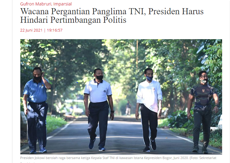 Wacana Pergantian Panglima TNI, Presiden Harus Hindari Pertimbangan Politis