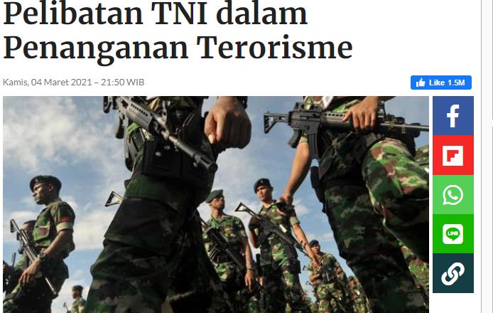 Tiga Alasan Imparsial Menolak Pelibatan TNI dalam Penanganan Terorisme