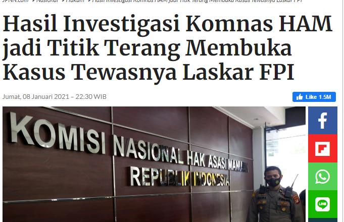 Hasil Investigasi Komnas HAM jadi Titik Terang Membuka Kasus Tewasnya Laskar FPI