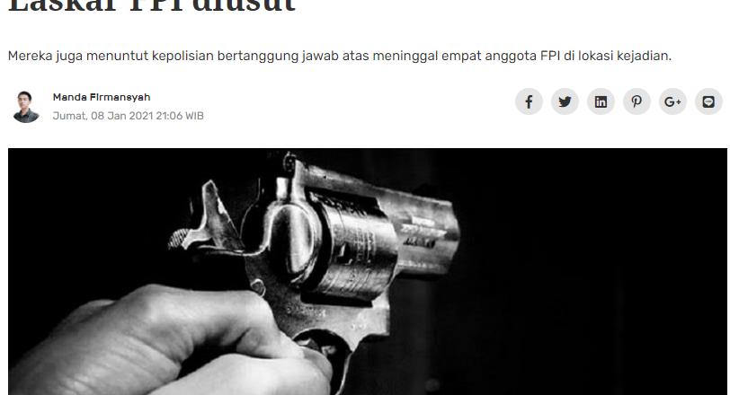 Aliansi sipil minta asal usul senjata api Laskar FPI diusut