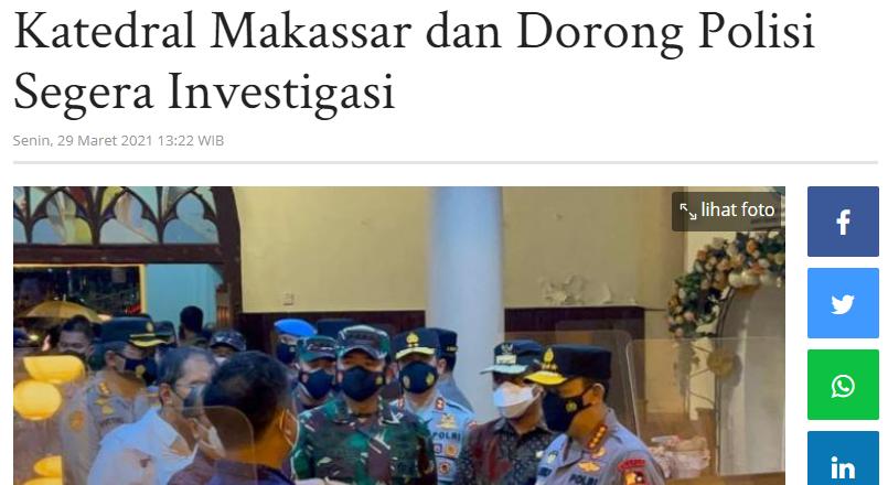 Imparsial Kecam Peledakkan Bom di Katedral Makassar dan Dorong Polisi Segera Investigasi
