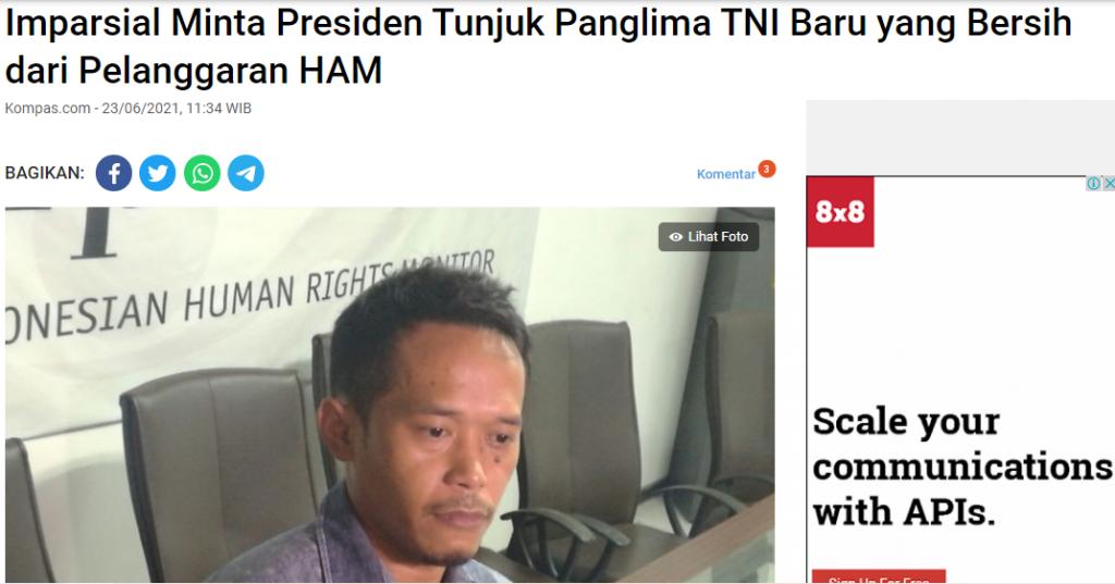 Imparsial Minta Presiden Tunjuk Panglima TNI Baru yang Bersih dari Pelanggaran HAM