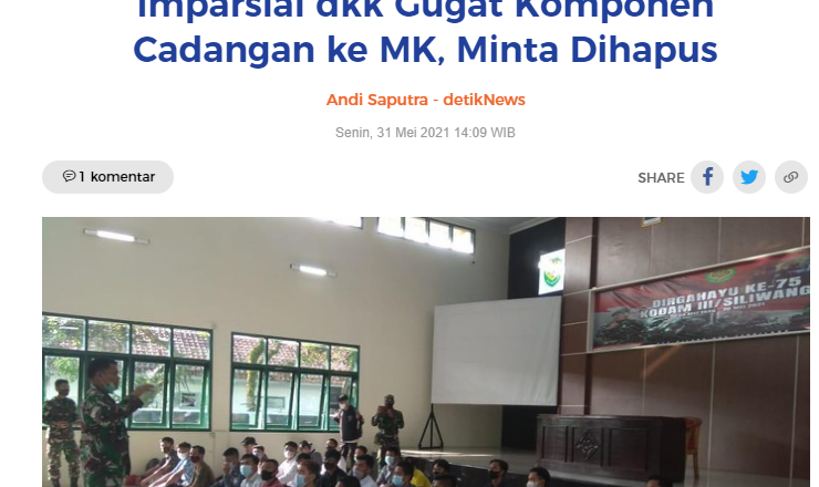 Imparsial dkk Gugat Komponen Cadangan ke MK, Minta Dihapus
