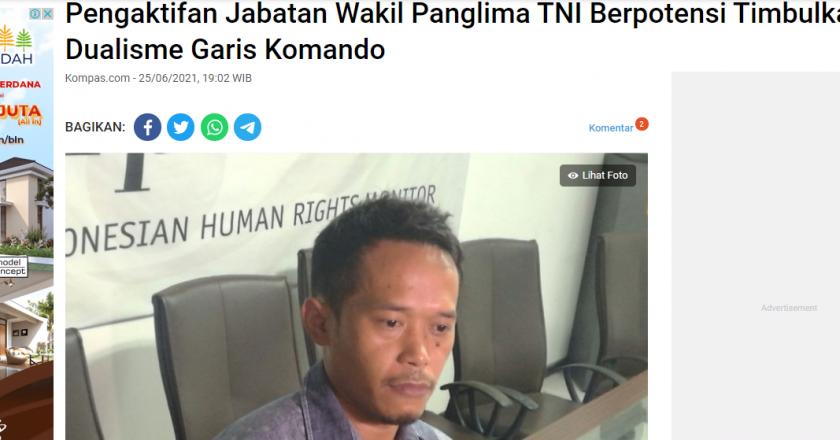Pengaktifan Jabatan Wakil Panglima TNI Berpotensi Timbulkan Dualisme Garis Komando